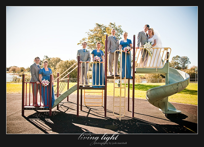 Bridal party on playground equipment, Newcastle.