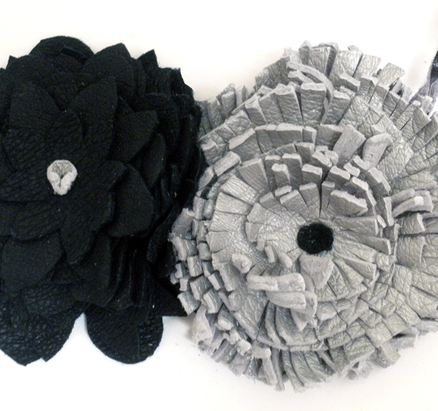 Black Gray Flowers Recycled Leather Necklace