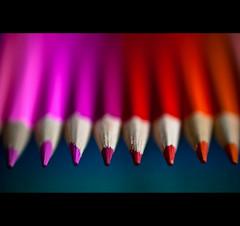 ~ Pink 2 Red ~ (©Komatoes) Tags: pink red orange colour field pencil pencils 50mm nikon dof bokeh drawing f14 g explore shallow nikkor 35 depth colouring afs 50mmf14 dcr250 raynox d40 nikond40 247bokehlife nosexdrugsorrocknroll