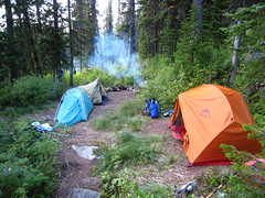 Camp at Parker Lake, Selkirk Mountains, North Idaho