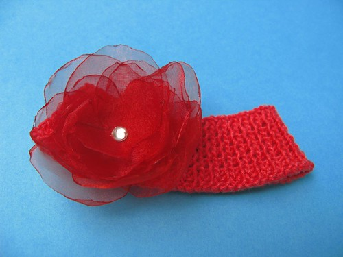 HANDMADE RED ORGANZA FLOWER ON HANDKNIT COTTON HEADBAND FOR INFANT BABY GIRL (0-3 months)