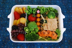 Star Wars Bento #3 (sherimiya ) Tags: school brussels fish cute fruits tomato fun starwars kid healthy funny blackberry yoda sweet character plum strawberries broccoli potato homemade grapes bento lightsaber sprout obento fishcakes broccoflower peapods firstgrader goldenraspberry purplecarrots sherimiya