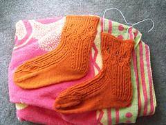Finished Mystery Socks (calophi-chan) Tags: socks knitting kal