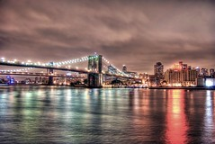 Brooklyn Bridge from Sequoia at the South Street Seaport (Dave DiCello) Tags: nyc newyorkcity bridge newyork brooklyn night photoshop lights nikon tripod southstreetseaport citylights brooklynbridge hudsonriver nikkor bigapple sequoia newyorknewyork hdr highdynamicrange bigcity cs4 thebigapple photomatix d40 tonemapped timessquarenewyork d40x evad310 davedicello