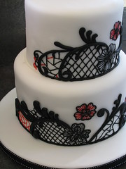 Pinpoint Wedding Cake (frostmesweet) Tags: birthday flowers wedding red white black cake goth needlepoint piping fondant pinstriping