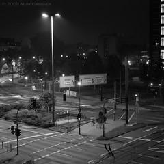 (And) Tags: light urban blackandwhite bw night canon shadows motionblur lamppost dsseldorf atnight casting eos450d digitalrebelxsi