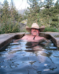 121 Dave Finds His Bliss (saschmitz_earthlink_net) Tags: california trees plants water tub sierranevada hotspring 2009 highsierra soaking sierranationalforest monohotsprings davidfredricksen
