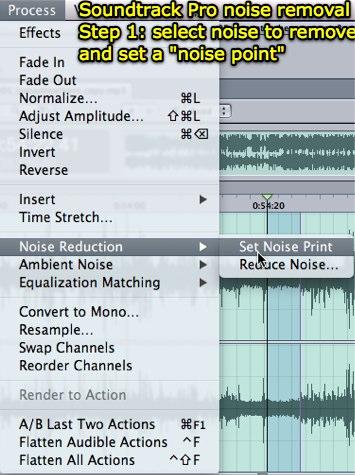 Soundtrack Pro noise removal - set noise point