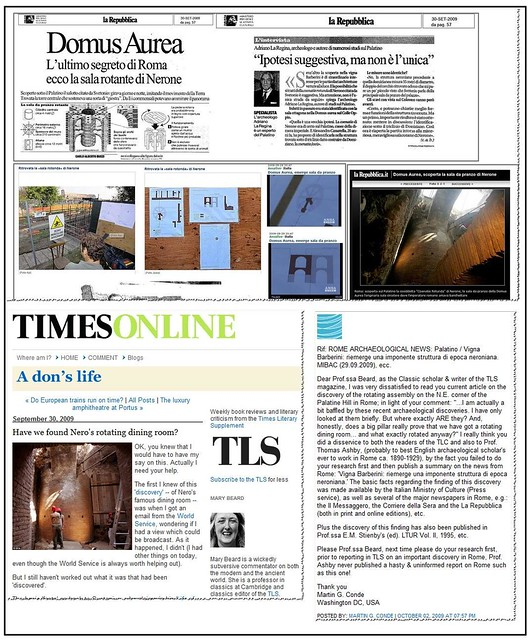Re Prof Mary Beard Have we found Neros rotating dining room Times Literary Supplement THE TIMES [LONDON] Online Edt Sept 30th 2009 by Martin G Conde
