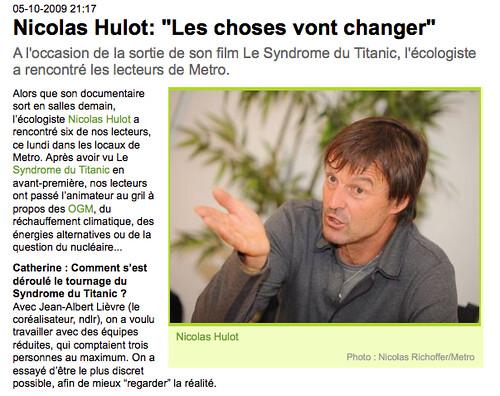Interview de Nicolas Hulot par MetroFrance.com