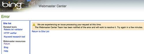 Bing Webmaster Tools Bug