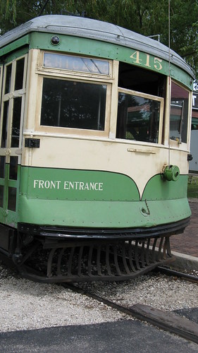 Preserved Illinois Terminal Railroad lightweight interurban car # 415. The Illinois Railway Museum. Union Illinois. Friday, July 3rd 2009.