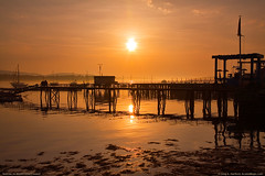 Southwest Harbor, Maine Sunrise (Greg from Maine) Tags: ocean morning sky sun sunshine silhouette clouds sunrise reflections golden pier shore acadia mountdesertisland southwestharbor acadianationalpark southwestharbormaine