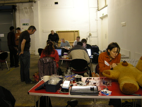 Evil Ted gets patched up after having LEDs inserted behind his eyes and an Arduino implanted in his head