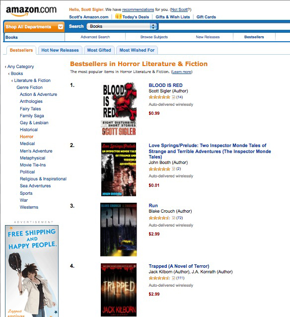 BLOOD IS RED is the number-one horror book on Amazon.com