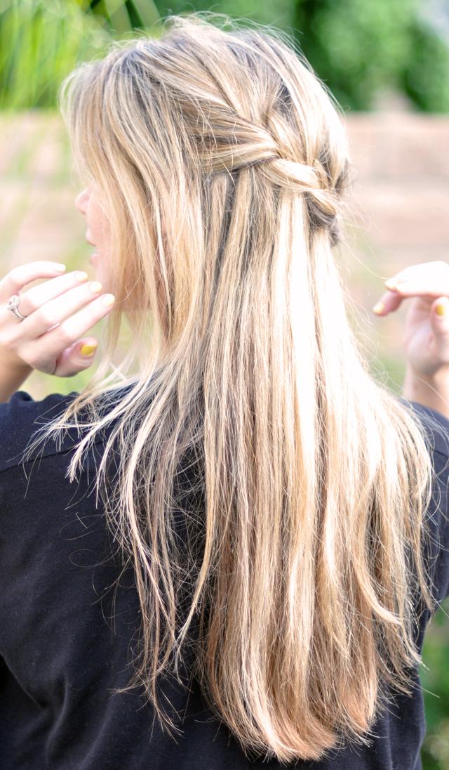 French Braid W Cascading Hair Tutorial Diy Waterfall
