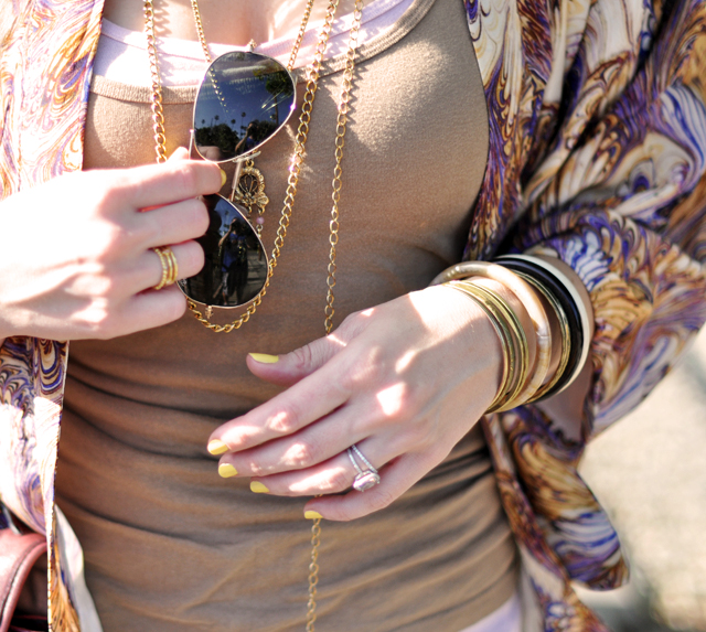 Winter Kate + vintage jewelry + bangles+ray ban aviators+yellow nails