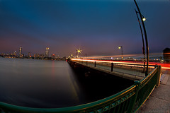 The Big Picture (bijoyKetan) Tags: bridge blue cambridge light people car boston night lights long exposure cityscape mit dusk harvard trails hour streaks ketan intamite bijoyketan rokinonfe8mc8mmf35fisheye