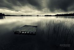 Silence (Joni N) Tags: sky bw lake reflection water clouds pentax shore toned sigma1020mm k10d pentaxk10d