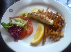 Cod 'fillets' with salad and fries at Dionika, Edinburgh