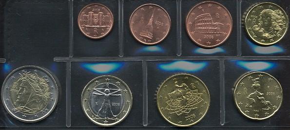 Sada mincí 1 cent - 2 euro Taliansko 2008