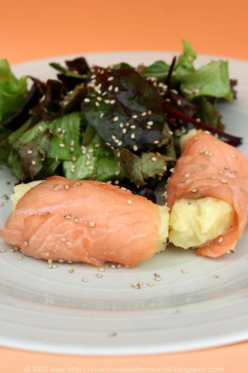 Involtini di salmone e purè