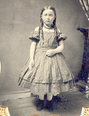 Standing beauty ambrotype. (Mirror Image Gallery) Tags: ambrotype antiquephoto coralnecklace victorianchildren offshoulderdress