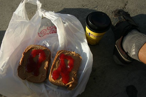 Brekkie on the road...It's peanut butter AND jam...and a 1 USD cappuchino.