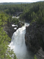 Upper Yellowstone Falls Bridge View (puroticorico) Tags: park trip wild vacation mountain lake snow hot west reflection tree tourism nature pool animal forest photography waterfall nationalpark spring pond montana mud wildlife altitude famous conservation tourist hike best roosevelt steam idaho trail american bubble destination yellowstone wyoming geyser popular bison hotspring boiling protected renowned