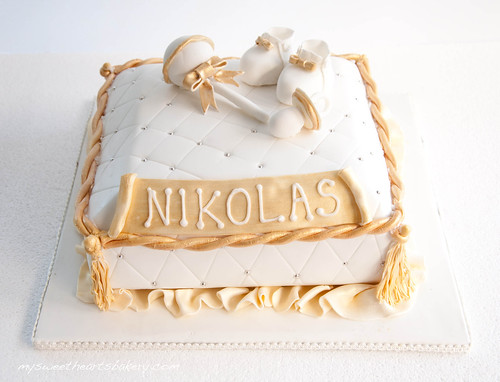 Gold and White Christening Cake