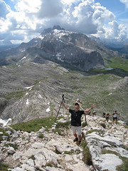 Walking on the ridge of Croda del Becco. Dolomites.