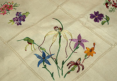 Violet Taylor wildflower embroidered  table cloth