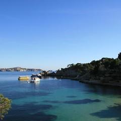 Azul 7 (juanlopez09) Tags: blue espaa beach azul canon island eos islands muelle mar spain europa europe barco playa mallorca isla cala fornells baleares 30d paguera balearic eos30d canoneos30d canonefs1785mmf456isusm flickraward
