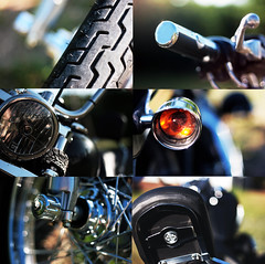Enjoy the ride. (Rebecca Tabor Armstrong) Tags: summer black leather bike seat wheels harley tires chrome montage motorcycle tread handlebars taillight 50mmf18