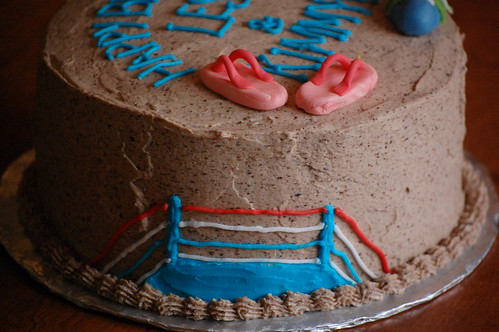 Boxing ring cake side