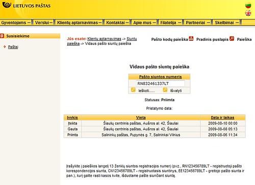 Pašto siuntinių sekimas (tracking) internetu