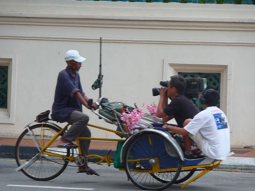 Becak or trishaw on location in Georgetown, Penang