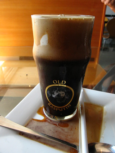 Old Rasputin and brown bread ice cream