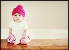 Pink Hat baby ({Charlotte.Morrall}) Tags: pink baby white girl hat wall knitted leggings onesie stripy