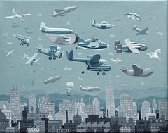 Over the City, 2008 (steveartist) Tags: art artwork whimsicalart smallpaintings stevefrenkel