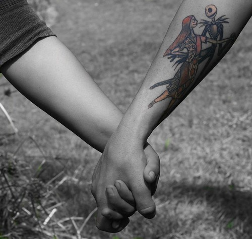 jack and sally tattoos. arm of Jack and Sally from