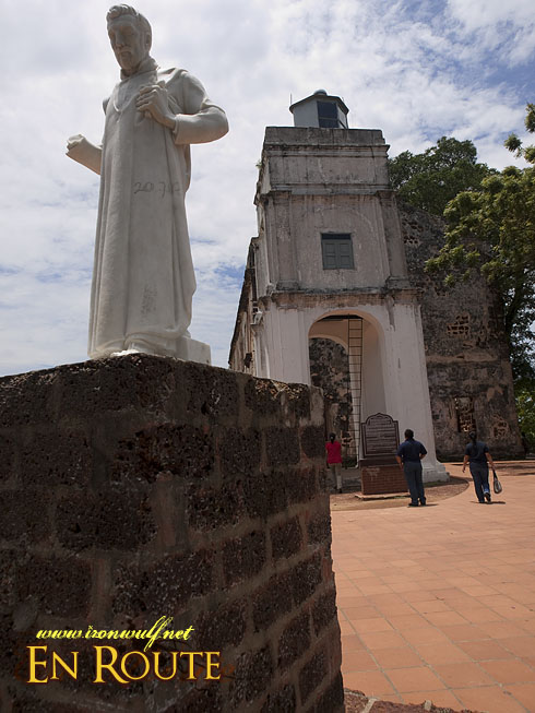 Malacca  Statue of St Francis Xavier and St Pauls Church Facade