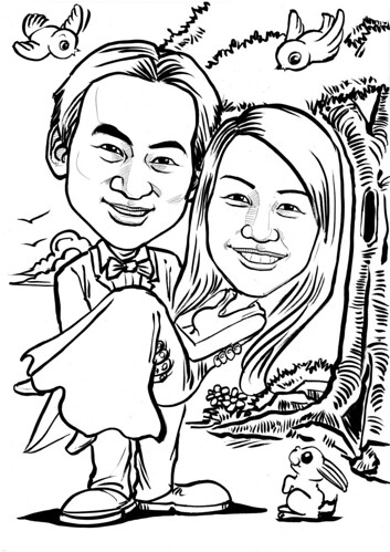Wedding couple caricatures ink outline A4