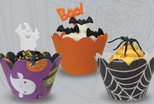 halloween cupcakes in wrappers