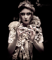 Wonderland : Incantation (Kirsty Mitchell) Tags: girl fairytale katie magic moth surrey fairy fantasy wonderland unicorn storybook blackmagic kirstymitchell elbievaneeden shotinabushjustbeforesundownmeandkatiewereeatenalivebymozzies45bitesonmybodyand4onmyeyeliderruuugh yestheflyinghorseisreal