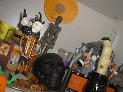 Halloween display 2009 (allhallowseve77) Tags: glitter skull candles witch pumpkins cottage disney mulberry