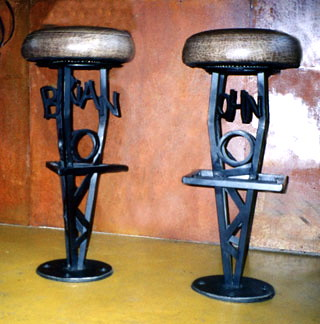 Blacksmith wrought iron barstools