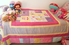Lili's quilt (*Karen M Andersen* (Ruby and Violet)) Tags: pink girl yellow cake silver toys bed wings strawberry aqua soft purple quilt heart teddy handmade teal sewing double fairy cupcake single handsewn handbags patchwork applique cushion kaffe muchroom shortcake fassett