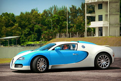 Sultan of Johor and His Bugatti Veyron (anType) Tags: blue white sports car vw volkswagen asia turquoise cyan royal exotic malaysia 164 sultan bugatti luxury coupe supercar royalty johor sportscar w16 veyron pasirgudang hypercar worldcars ibrahimismail