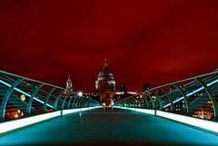 Blood red sky (vulture labs) Tags: street city uk longexposure light england urban london art thames skyline architecture night river photography design nikon long exposure cityscape millenniumbridge norman foster stpaulscathedral sirnormanfoster londonskyline sirchristopherwren bloodredsky d7000 nikond7000 vulturelabs
